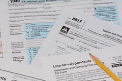IRS and FAFSA tax forms Stock Image