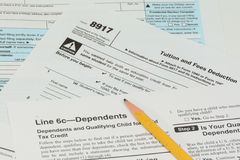 IRS and FAFSA tax forms Stock Images