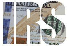 IRS, fim americano do macro do dinheiro acima da cara do ` s de Ben Franklin na nota de dólar dos E.U. 100 foto de stock royalty free