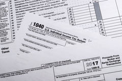 IRS Form 1099-B: Proceeds Frim Broker and Barter Exchange Transa. A shot of IRS Form 1099-B: Proceeds Frim Broker and Barter Exchange Transactions tax form Stock Image