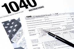 IRS 1040 från instructuons Arkivbild