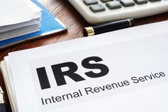 IRS Internal Revenue Service documents and folder royalty free stock images