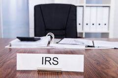 Irs nameplate in office Stock Photo