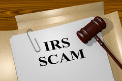 IRS Scam legal concept. 3D illustration of IRS SCAM title on Legal Documents vector illustration