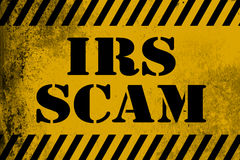 IRS scam sign yellow with stripes stock illustration
