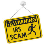 IRS scam warning sign. Tax scam warning sign, A yellow warning hanging sign with text IRS Scam and theft icon isolated over white royalty free illustration