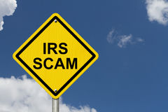 IRS Scam Warning Sign Stock Photo