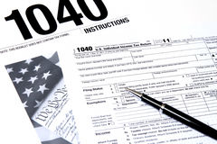 IRS 1040 von den instructuons Stockfotografie