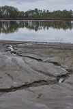 Irtish-River. Dry dirt with cleft. River's bank after flood. Royalty Free Stock Photo