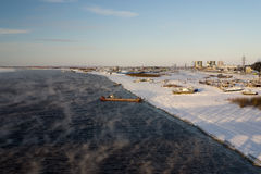 Irtysh river befor freezing Stock Photos