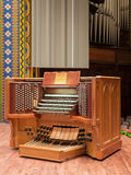 Irvine Auditorium, University of Pennsylvania. Photos of console and organ pipes Stock Photo