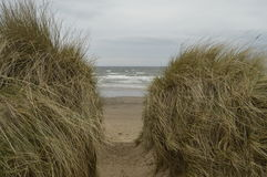 Irvine beach. Walk in windy day, Scotland Royalty Free Stock Image