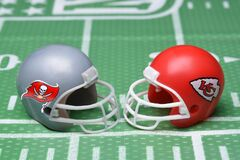 Free IRVINE, CALIFORNIA - 25 JAN 2021: Helmets For The Tampa Bay Buccaneers, And Kansas City Chiefs, Opponents In Super Bowl LV. On A Royalty Free Stock Images - 208569009