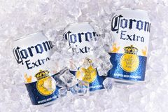 Corona Extra beer cans in ice. IRVINE, CALIFORNIA - MARCH 29, 2018: Corona Extra beer cans in ice. Corona is the most popular import in the USA stock images