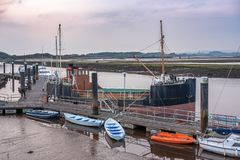 Irvine Harbour Pontoons and old Jetty with some Small Boats. From Harbour Street Irvine looking over the small jetty and pontoons with its small boats to the royalty free stock photo