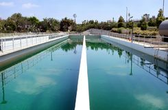 Irvine Ranch Water District Chlorine Contact Basin. IRVINE, CALIFORNIA - APRIL 27, 2018: Irvine Ranch Water District Chlorine Contact Basin. The IRWD delivers Stock Photo