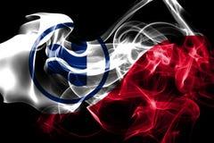 Irving miasta dymu flaga, Teksas stan, Stany Zjednoczone Ameryka royalty ilustracja