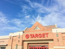 Entrance to Target the second-largest discount store retailer in. IRVING, TX, US-APR 17, 2018:Facade, exterior view Target entrance. The second-largest discount royalty free stock images
