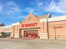 Entrance to Target the second-largest discount store retailer in. IRVING, TX, US-APR 17, 2018:Facade, exterior view Target entrance. The second-largest discount royalty free stock photo