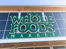Facade entrance to Whole Foods Market store in Irving, Texas, US royalty free stock photos