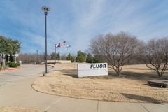 Entrance to world headquarters of Fluor Corporation in Irving,. IRVING, TX, USA-JAN 14, 2018:Main entrance headquarters of Fluor Corporation. Multinational royalty free stock images