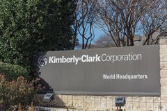 Entrance to  world headquarters of Kimberly-Clark in Irving, Tex. IRVING, TX, USA-JAN 14, 2018: Main entrance to world headquarters of Kimberly-Clark. American Royalty Free Stock Photos