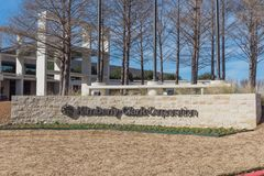 Entrance to  world headquarters of Kimberly-Clark in Irving, Tex. IRVING, TX, USA-JAN 14, 2018: Visitor entrance to world headquarter of Kimberly-Clark. American Royalty Free Stock Image