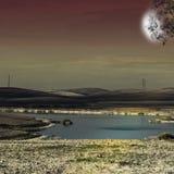 Irygacyjny staw w magicznym świetle Fotografia Stock