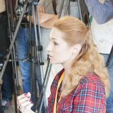 Iryna Baglay, specjalny korespondent dla Ukraińskiego kanału telewizyjnego obrazy stock