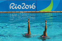 Iryna Limanouskaya and Veronika Yesipovich of team Belarus compete during synchronized swimming duets Royalty Free Stock Images