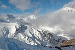 ` Isère Ski Resort di Val d da Solaise Fotografia Stock Libera da Diritti
