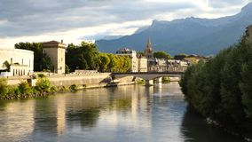 Isère river in Grenoble. stock footage