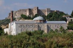 Isa Bey Camii Mosque och bysantinsk citadell av Ayasoluk, Selcuk Royaltyfri Fotografi