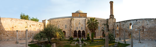 Isa Bey Mosque in Selcuk. Panorama from the courtyard of Isa Bey Mosque, 1374-1375AD, situated in Selcuk (Izmir province - Turkey Royalty Free Stock Photography