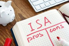 ISA Individual Savings Account-pros - en - cons. royalty-vrije stock afbeelding