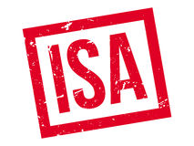 ISA rubber stamp. On white. Print, impress, overprint. Individual Savings Account label. Bank account, financial instrument with interest rate. Good for family Royalty Free Stock Images