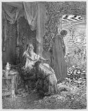 Isaac Blessing Jacob. Picture from The Holy Scriptures, Old and New Testaments books collection published in 1885, Stuttgart-Germany. Drawings by Gustave Dore Royalty Free Stock Photos