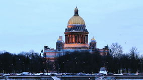 Isaac Cathedral and Neva River in Winter. It's Evening Time, St Petersburg, Russia stock footage