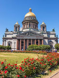Isaac Cathedral with roses Royalty Free Stock Photo