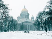 Isaac cathedral in the winter. View on a Issaac cathedral in a blizzard. St Petersburg, Russia Royalty Free Stock Image