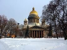 Isaac Cathedral in Winter Stock Photos