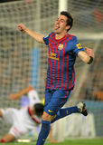 Isaac Cuenca of FC Barcelona. Celebrates goal  during the spanish league match against RCD Mallorca at the Nou Camp Stadium on October 29, 2011 in Barcelona Stock Photos