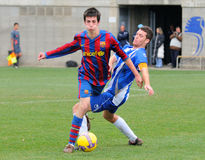 Isaac Cuenca (left), F.C. Barcelona youth team player, in action against RCD Espanyol Stock Photography