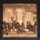 Isaac, Esau, Jacob Bronze Bas Relief - Florence Baptistery Royalty Free Stock Photography