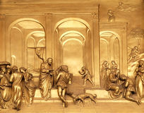 Isaac with Esau and Jacob, Gates of Paradise, Baptistry of Florence Cathedral. Baptistry of Saint John, Gates of Paradise, Isaac with Esau and Jacob, Florence Royalty Free Stock Photo