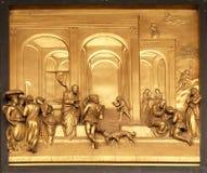 Isaac med Esau och Jacob, portar av paradiset, dopkapell av Florence Cathedral Royaltyfri Bild