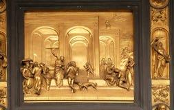 Isaac met Esau en Jacob, Poorten van Paradijs, Doopkapel van Florence Cathedral royalty-vrije stock foto