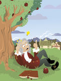 Isaac Newton. A vector cartoon, representing Sir Isaac Newton that is just having an idea Stock Illustration
