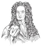 Isaac Newton portrait in line art illustration. Isaac Newton (1643-1727) was an astronomer, scientist, philosopher, mathematician and physicist who stock illustration
