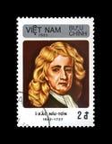 Isaac Newton, scientifique, explorateur, mathématicien, astronome, observateur, vers 1985, photographie stock libre de droits